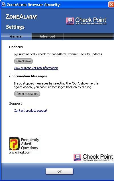 הגדרות, ZoneAlarm Extreme Security-חומת אש ואנטיוירוס