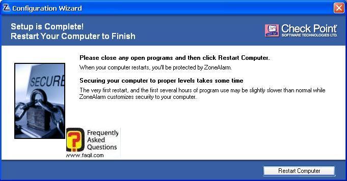 הפעלה מחדש של המחשב, ZoneAlarm Extreme Security-חומת אש ואנטיוירוס